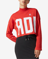 adidas Cotton High-Neck Cropped Logo Sweatshirt