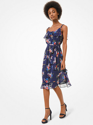 Michael Kors Floral Georgette Ruffled Dress