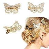 Tenworld Women Girl Gift 2pcs Golden Butterfly Hair Clip Headband Hair Accessories Headpiece