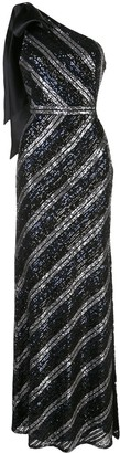 Marchesa Sequin-Embellished Striped One-Shoulder Gown