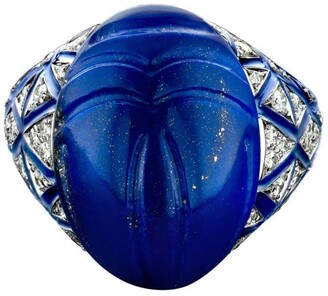 Bare Fine White Gold, Diamond and Lapis Lazuli THEBES Scarab Ring