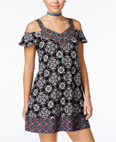 Planet Gold Juniors' Printed Cold-Shoulder Shift Dress
