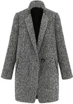 jasmine214 Womens Elegent Lapel Houndstooth Woolen Blends Long Trench Coat Outerwear Jacket
