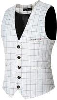 JJCat New Men's V-neck Stripes Brife Style Plus Size Solid Color Fabric Dress Vests(3XL(China 5XL),)