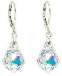 Queenberry Sterling Silver Baroque Shaped AB Crystal Leverback Dangle Earrings