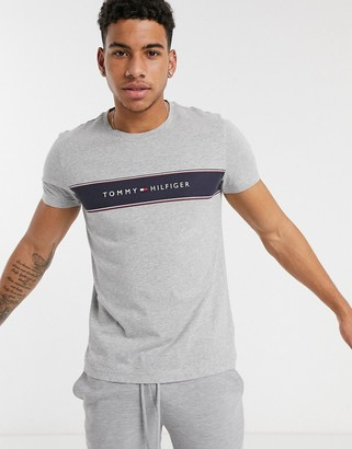 Tommy Hilfiger logo chest insert stripe t-shirt in light grey