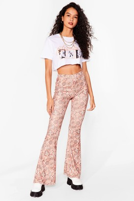 Nasty Gal Womens Paisley Close Attention High-Waisted Flare Trousers - Metallics - 6