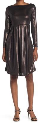 WEST KEI Metallic Pleated Long Sleeve Dress