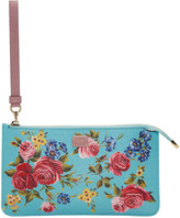 Dolce & Gabbana Blue Small Rose Zip Pouch