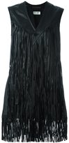 Saint Laurent fringed leather waistcoat jacket - women - Silk/Lamb Skin - 38