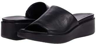 Ecco Flowt Luxe Wedge Sandal Slide (Black Cow Leather) Women's Shoes