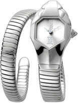 Just Cavalli 22mm Glam Chic Coiled Snake Bracelet Watch, Silver