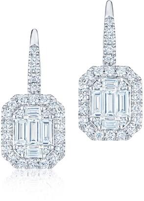 Kwiat Sunburst Halo Baguette Diamond Stud Earrings