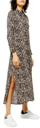 Topshop Long Sleeve Open Back Floral Shirtdress