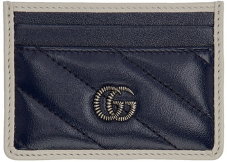 Gucci Navy GG Marmont Torchon Card Holder