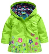 TRURENDI Girls Long Sleeve Windbreak Girl Floral Waterproof Jacket Kid Anorak Children