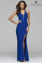 Faviana 7540 V-neck long evening dress with strappy cut-out back
