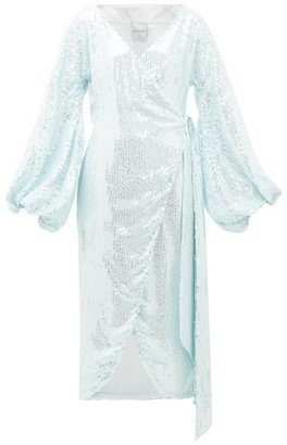 Halpern Balloon-sleeve Sequinned Wrap Dress - Light Blue