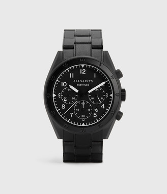 AllSaints Subtitled VII Black Stainless Steel Leather-Wrapped Watch