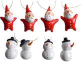Eight Mini Snowmen & Santa Ornaments