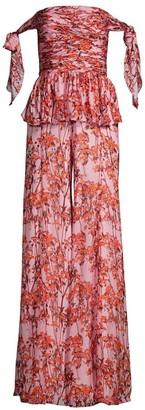 Flor Et. Al Vivian Floral Silk Off-The-Shoulder Jumpsuit