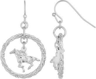 1928 Silver-Tone Suspended Horse Drop Earrings