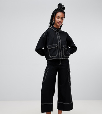 Monki wide leg cargo pants with pockets in black with contrast stitching