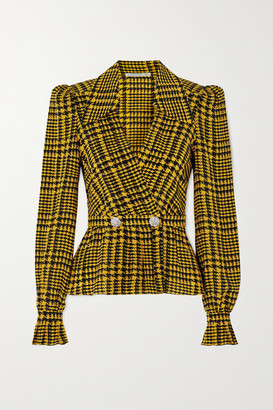 Alessandra Rich Double-breasted Crystal-embellished Houndstooth Silk Blouse - Yellow