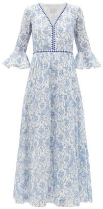 Le Sirenuse Le Sirenuse, Positano - Bella Valy Myers-print Cotton-voile Maxi Dress - Womens - Blue Print