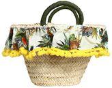 Floral Printed Straw Bag