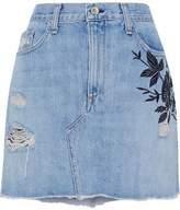 Rag & Bone Embroidered Distressed Denim Mini Skirt