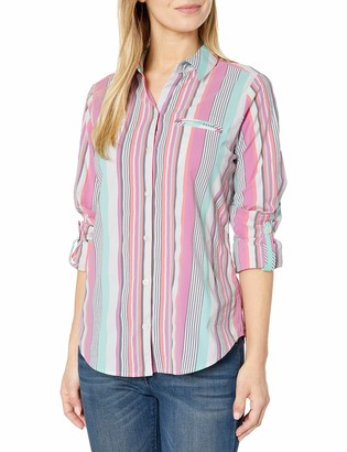Foxcroft Women's Reese Seersucker Stripe Sun Protection UPF Shirt
