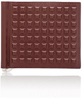 Balenciaga Men's Grid-Embossed Money Clip Wallet-BURGUNDY
