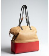 Fendi beige and red leather '2bag' colorblock tote