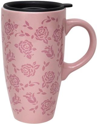 Enchante Pink Floral Lidded Travel Mug