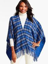 Talbots Fringed Holiday Plaid Wrap