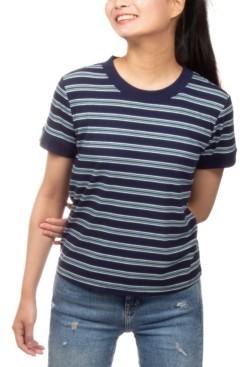 Hippie Rose Juniors' Ribbed-Knit Striped Ringer T-Shirt