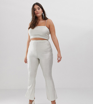 Fashionkilla Plus flared pants two-piece in glitter