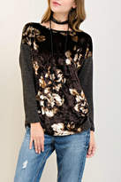 Entro Floral Crushed-Velvet Top