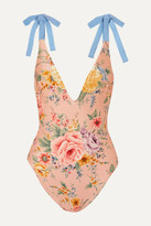 Zimmermann Zinnia Bow-detailed Grosgrain And Floral-print Swimsuit
