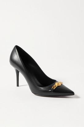 Versace Embellished Leather Pumps - Black