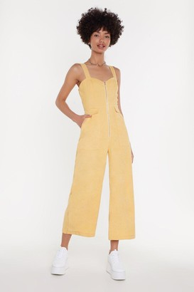 Nasty Gal Womens Who Do You Think You're Kidding Corduroy Jumpsuit - Yellow - 14, Yellow