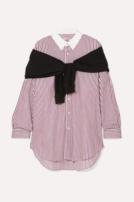 Balenciaga Jersey And Striped Cotton-poplin Shirt - Burgundy
