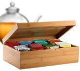 Bambüsi by Belmint 8-Compartment Tea Storage Box with Hinged Lid ✦ Crafted of 100% Natural Bamboo (Hinged Lid)