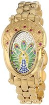 Brillier Women's 18-05 Royal Plume Peacock Inspired Swiss Genuine Red Rubies Watch