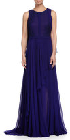 J. Mendel Sleeveless Lace-Embellished Cape Gown, Imperial Blue