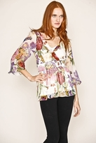 NU Collective Printed Silk Chiffon Top in White Floral