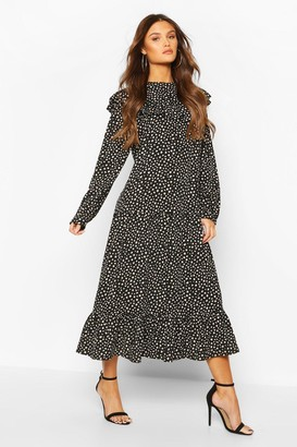 boohoo Smudge Polka Dot Ruffle Drop Hem Midaxi Dress