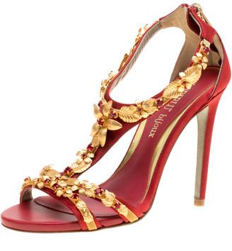 Loriblu Bijoux Red Satin Floral Embellished Crystal Studded Sandals Size 36