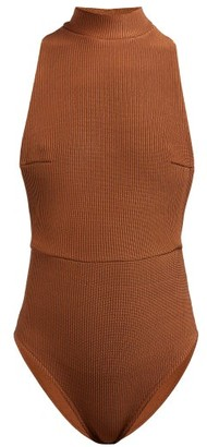Haight Kate High-neck Ribbed Swimsuit - Camel